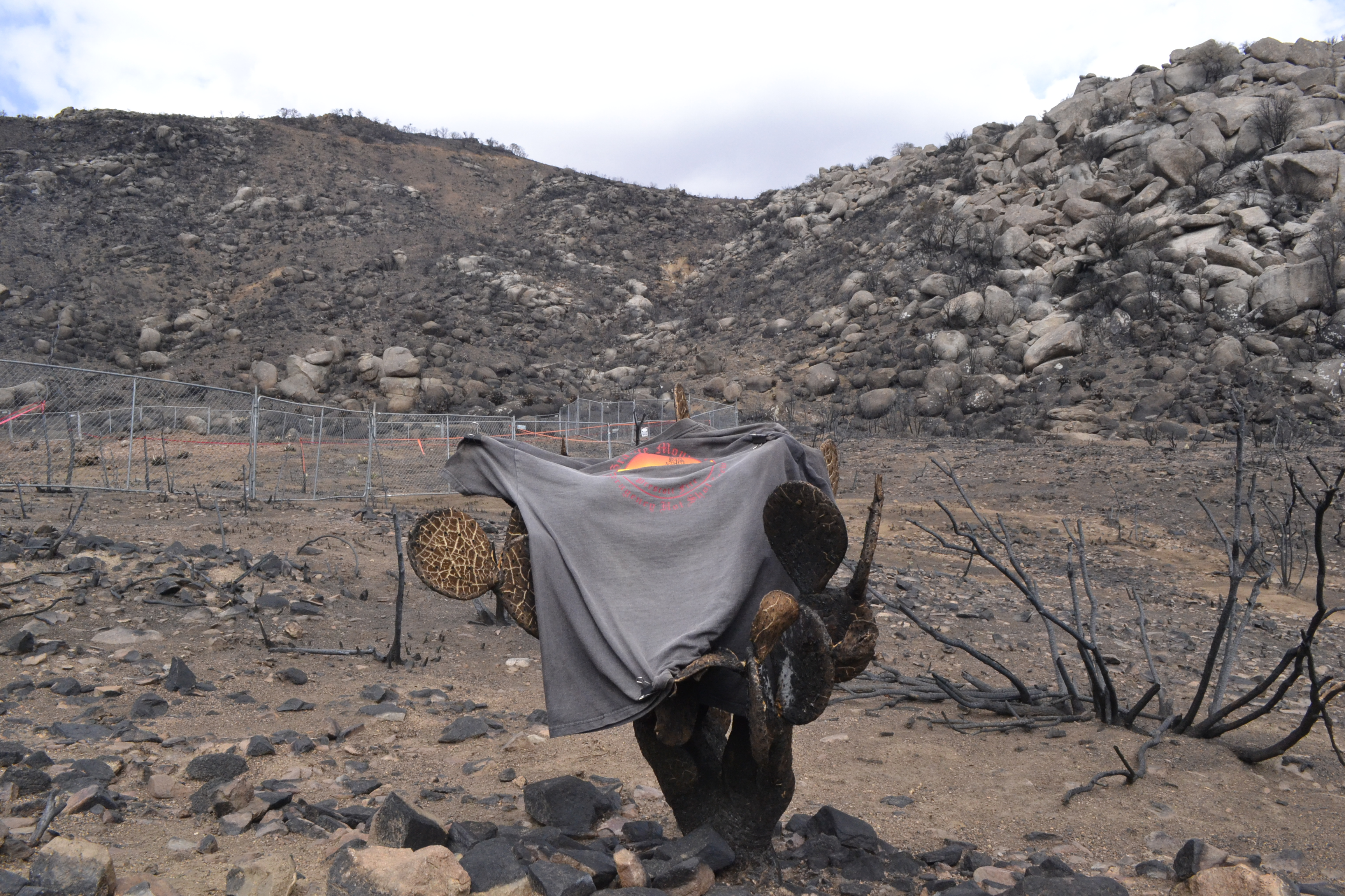 A Granite Mountain Hotshot t-shirt is draped over a cactus. The shelter deployment site is behind. The crew descended into the box canyon from the saddle on the ridge.
